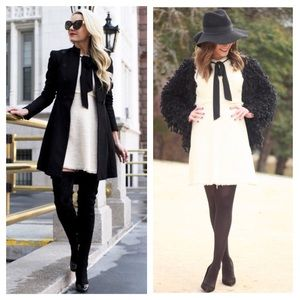 Zara Tweed Bow Front Dress NWT
